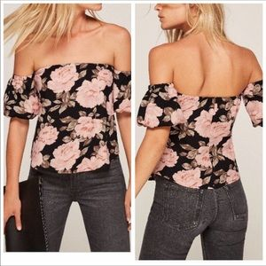 Reformation Black Floral Off the Shoulder Top M